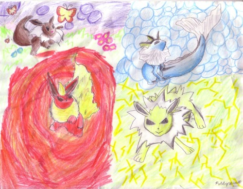 BONUS1! Eeveelutions that I drew (using the cards) from maybe 10 years ago!