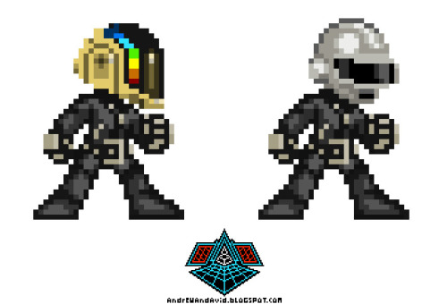 16 bit Daft Punk plus their logo by artist [Andrew Wilson] [via]