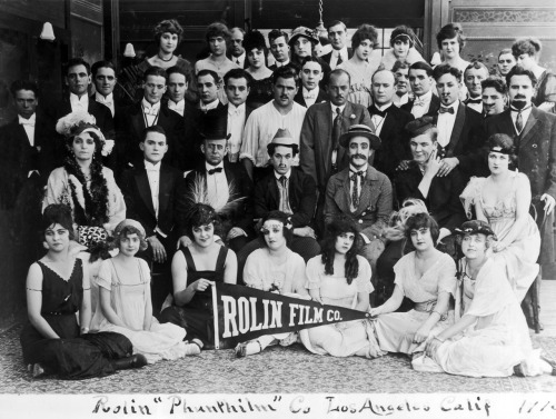 safetylast:  The Rolin Film Company - 1915 Bebe Daniels (1rst row, middle), Harold Lloyd (2nd Row, middle - in Lonesome Luke costume), Snub Pollard to his left, Hal Roach (3rd row, middle)