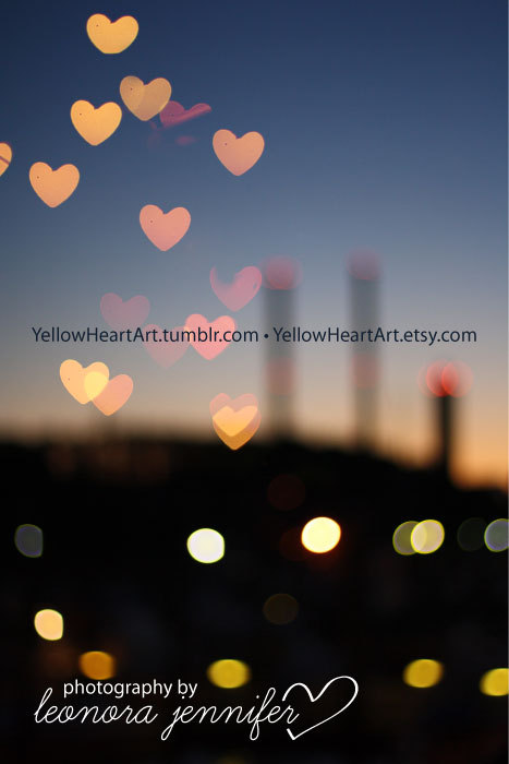 """Night Time Love""-Photography by Leonora Jennifer for Yellow Heart Art A sneak peak of some of my photography for Yellow Heart Art. This photo is a double exposure of 2 photos. No spiffy photoshop tricks here-the hearts were done using a techinque called bokeh. Pretty rad eh? :) PS-All my photos and graphic prints on Tumblr will have a ""watermark"" on it, please note that if you buy this print none of the text will be on there—thanks for understanding! Shop opening the week of January 17th, 2011 (horray!)"