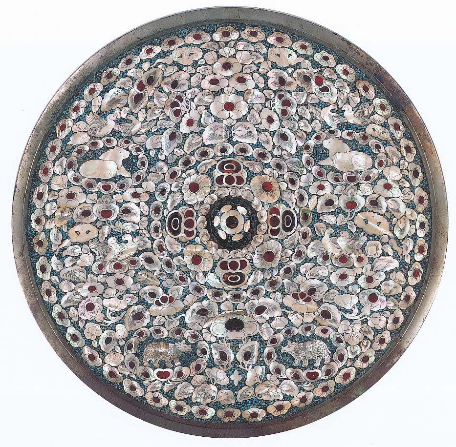 sombhatt:  Circular Mirror with Mother-of-Pearl and Amber Inlay, Nara period, Japan, VIII century.