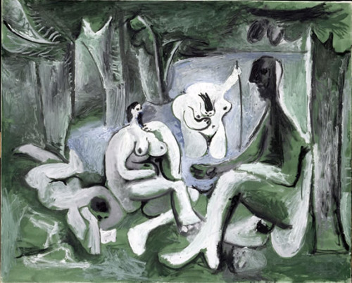 Pablo Picasso. Le Déjeuner sur l'Herbe, after Manet, 1961 see various versions painted between 1960-1961 and also Le déjeuner sur l'herbe by Édouard Manet