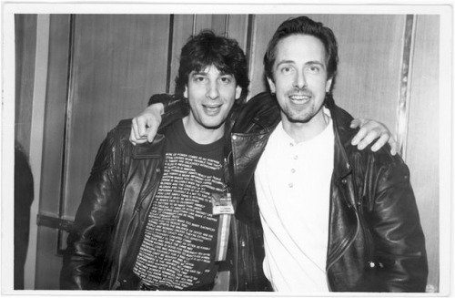"iamaliveandyouaredead:  Neil Gaiman and Clive Barker, circa 1996 ""Two very scary people in leather jackets. Look! We are so scary!"" - Neil Gaiman"