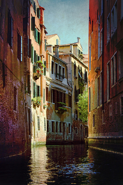 | ♕ |  Backwater canal, Venice  | by © Amanda White | via allthingseurope