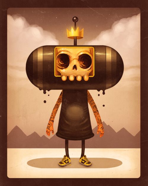 "justinrampage:  Mike Mitchell created an excellent Katamari Damacy themed illustration ""Prince Of Darkness"" for Gallery 1988's ""Multiplayer"" show. Prince Of Darkness by Mike Mitchell (Store) (Tumblr) (Twitter) Via: sirmitchell"