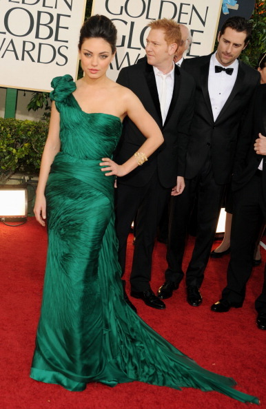 suicideblonde:  Mila Kunis at the Golden Globes tonight Love the green!