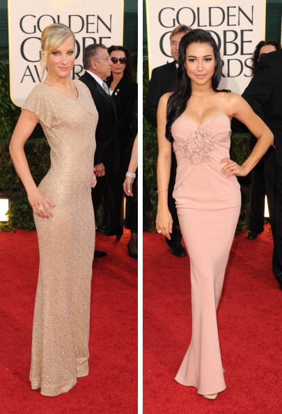 suicideblonde:  Heather Morris and Naya Rivera at the Golden Globes tonight DAMN YOU TWO!  YOU LOOK FINE!