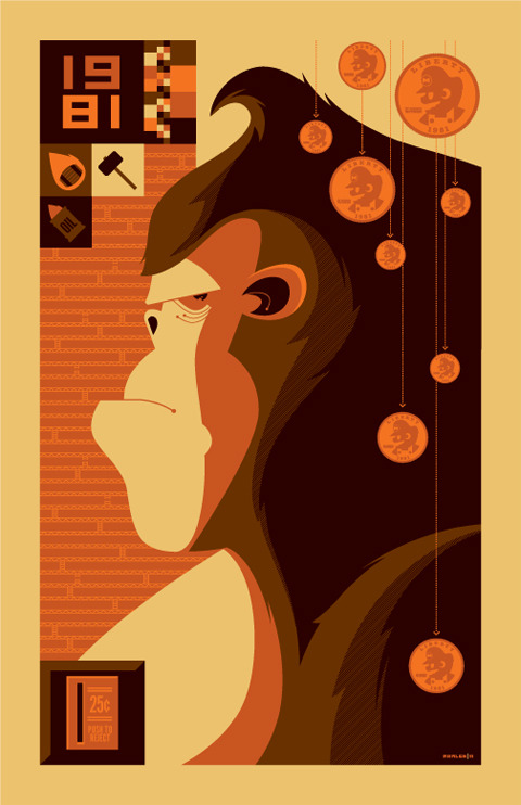 """1981"", my donkey kong tribute poster for the Gallery 1988 (venice) ""multiplayer"" group show. available at http://nineteeneightyeight.com/index.php/sf/venicejan11/prints-tomwhalen-donkeykong.html"