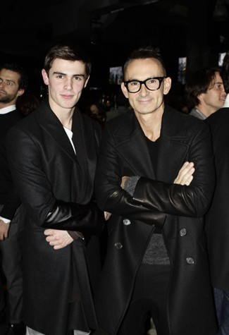 Neil Barrett and his nephew Phillip Barrett at GQ's Annual Men's Milan Bash sporting jackets from his upcoming fall collection for 2011. I love the addition of leather sleeves to the jackets; the jackets maintain a classy and sophisticated look and the leather sleeves add a sense of ruggedness. Kind of a sophisticated rocker vibe. Can't wait to see the pieces from his show this coming 18th! Photo: WWD on GQ's Annual Men's Milan Bash