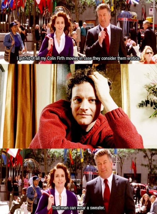 Captured Captions That man can wear a sweater - S3E1 - 30 Rock via imeanwhynot