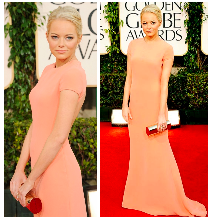 Emma Stone looked amazing at the Golden Globes in an open back Calvin Klein dress. I love the peach color with her skin and her hair (which looks smokin'). Surprisingly, it doesn't wash her out. Simple and classy. I hated most of the dresses on the red carpet, which is probably why this dress is a little out of character for me.