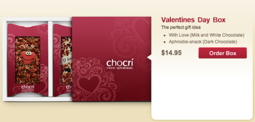 Give your loved ones personalized Valentine's Day chocolate bars from chocri - like this nifty gift box with two chocolate bars for only $14.95 plus $6 shipping.