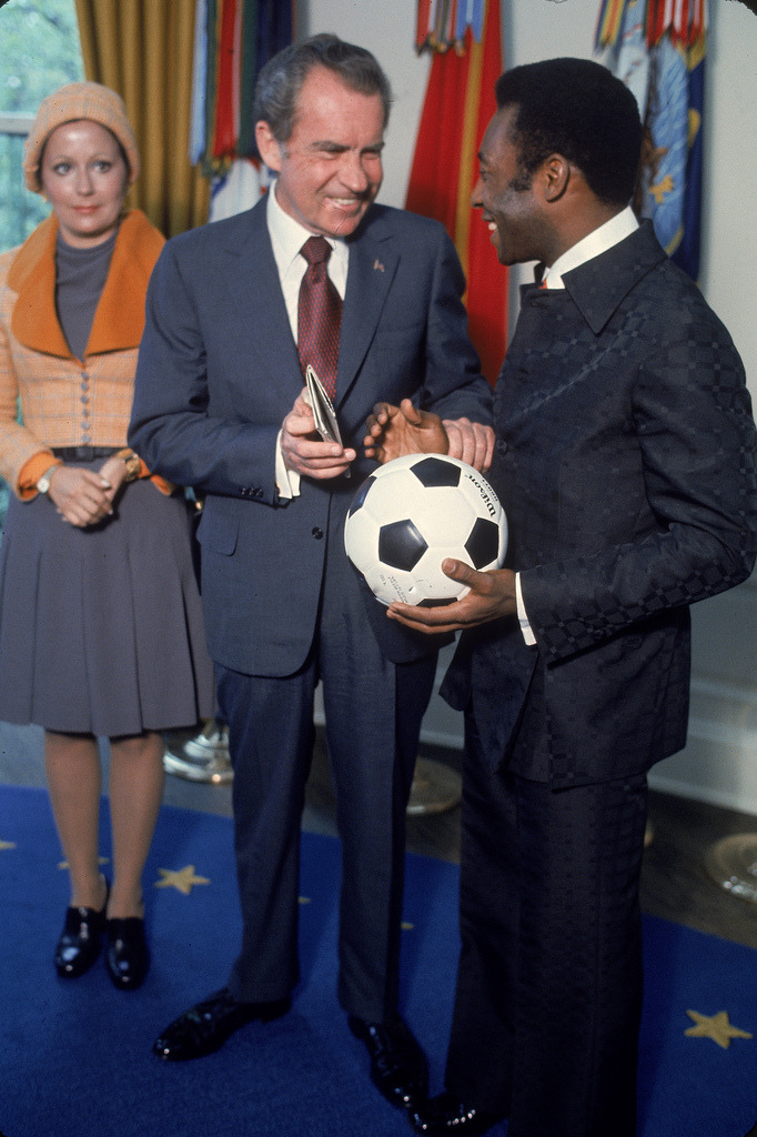 US President Richard Nixon meeting with The King of Football in the White House, May 8, 1973.