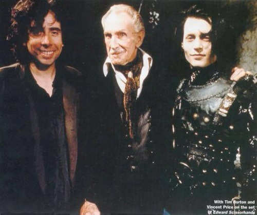 Tim Burton, Vincent Price & Johnny Deppon the set of Edward Scissorhands.