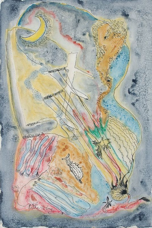 "Edmund Kesting ""Moonswing"". 1940's. Mixed media (Ink and watercolour). In ink signed ""E. Kesting"". Verso in  pencil inscribed by a different hand."