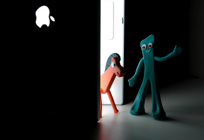 Clever and fun. Who doesn't love/remember Gumby? Toss in a MBP and you got a winner!