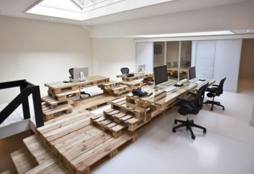 An Amsterdam office designed with wooden shipping pallets. Eco, budget (super) cool.
