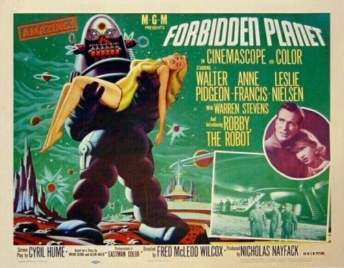 Forbidden planet, what a great film ! Sober but magnificent special effects (the film dates from 1956), shakespearian argument (the tempest), nice actors (Ann Francis as the sexy space virgin, Walter Pidgeon, as his father, the mad scientist, and… Leslie Nielsen, as the young astronaut). Not to forget Robbie the Robot, the most convincing ancestor of the Star Wars metal heroes. He is much taller in the poster than in the movie, and his disquieting King-kong style bearing a collapsed Ann Francis does certainly not reflect the very nice behaviour he shows from the beginning to the end of the film.