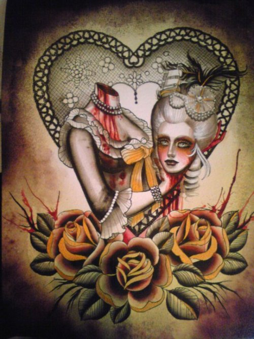 tattoome:  Marie Antoinette #tattoo flash by Cristina Garcia