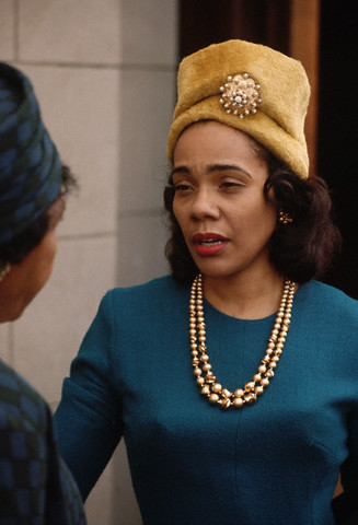 Coretta Scott King leaving church in November 1964.