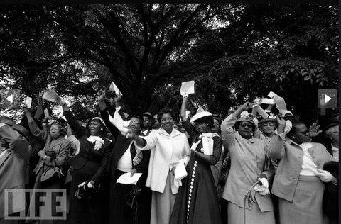 "Women in their Sunday Best at the 1957 ""Prayer Pilgrimage for Freedom,"" where Dr. Martin Luther King, Jr. delivered his""Give Us the Ballot"" speech in front of the Lincoln Memorial."