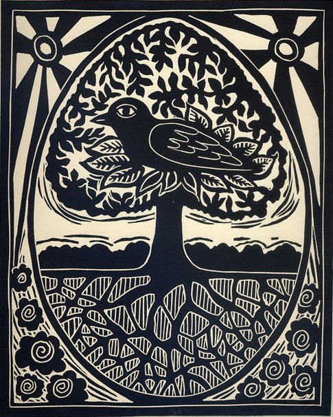 Linocut, via BlueCicada on Etsy. Via adventures-of-the-blackgang:  the-crows-nest  (click thru for etsy)