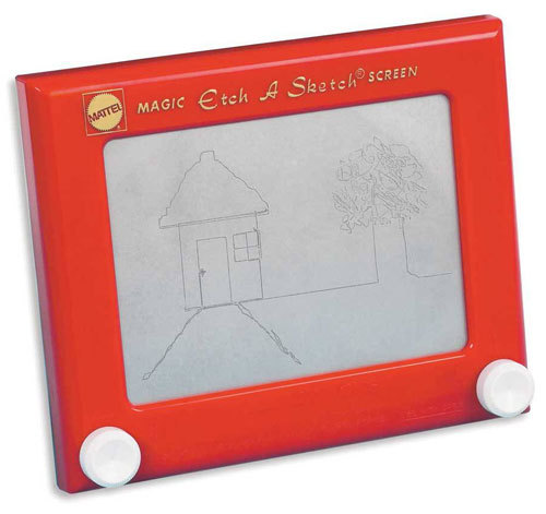 "Weird Craigslist job description of the day: Wanted – one Etch-A-Sketch doodler available for freelance work. Must be willing to create 200 ""place cards"" using miniature Etch-A-Sketches for a major arts conference. Must be willing to do tedious things for the next month and a half. Must have liberal definition of ""art."" Must have very specific strength in turning knobs – emphasized through years of practice with devices such as stereos and car radios. No shakiness allowed. No carpal tunnel – your knuckles must be limber and undamaged by arthritis. Must be willing to agree to insanely complicated task on the hopes that the prestige is enough to make you feel that you haven't wasted your time. Hey, it's the recession! Jobs are hard to come by!"