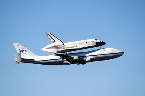 NASA Shuttle Carrier Aircraft (SCA) and the Space Shuttle Endeavour. Photo by ladybugbkt. Link.