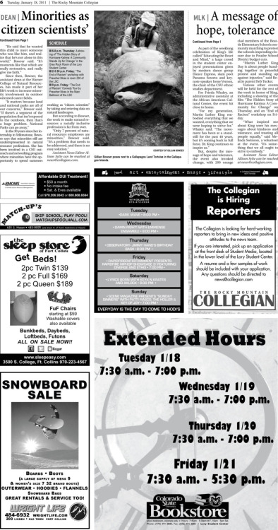Tuesday, January 18, 2011. The Rocky Mountain   Collegian front jumps page. Page designed by Design Editor Alexandra Sieh. *Notice the new breakout boxes. We have changed from a red outlined box to the much more sophisticated and professional looking gray boxes.*