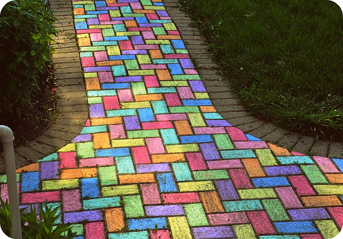 follow the colored brick road.