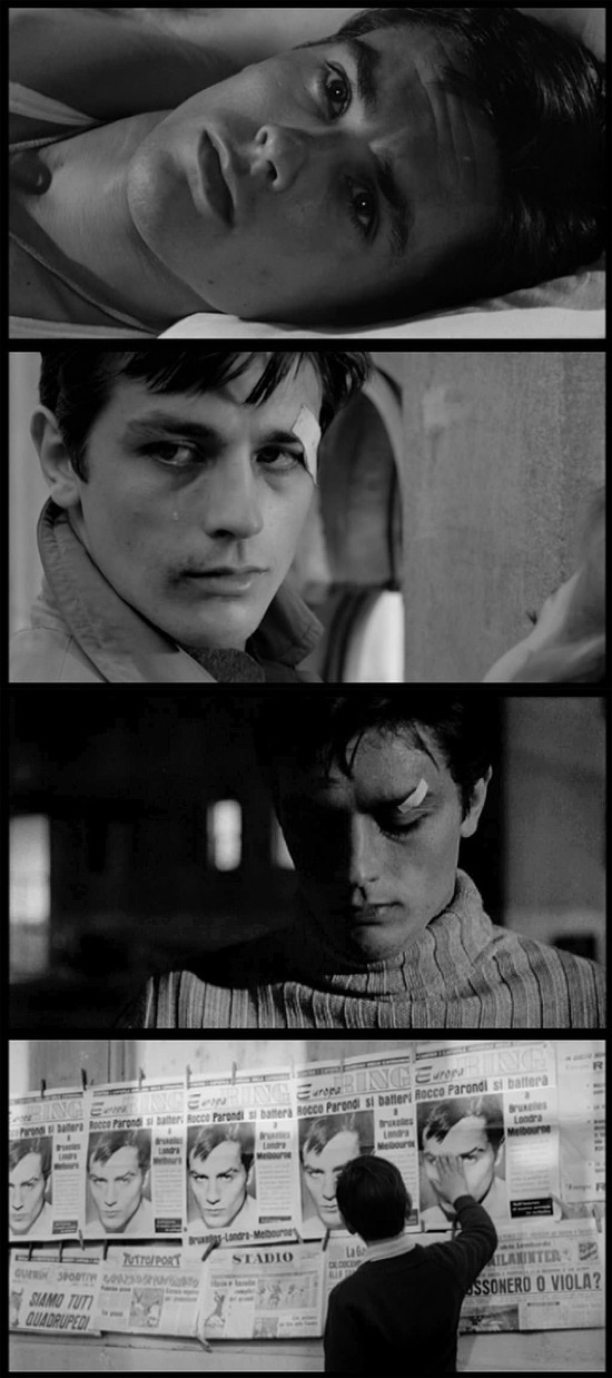 my moviesinframes:  Rocco e i Suoi Fratelli (Rocco and his brothers), 1960 (dir. Luchino Visconti)  I've just resolved to choose Alain Delon's Rocco as my spirit guide for all 2011. Beware.