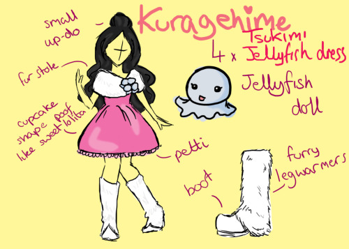 Reference sketch KuragehimeTsukimiJellyfish Dress