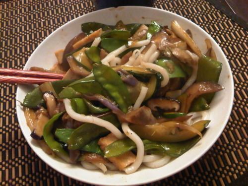 Udon noodles, bok choy, shiitake mushrooms, snow peas, eggplant and tofu!