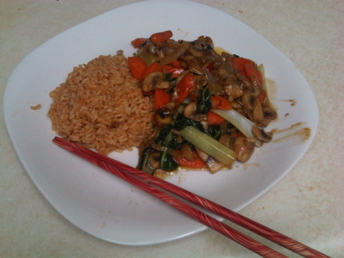 Veggie stir fry with chipotle seasoned brown rice.