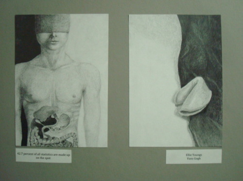 "Graphite diptych, 2010. For this assignment we had to interpret a random fortune. One panel is the fortune cookie, the other is the interpretation. My fortune was ""42.7 percent of all statistics are made up on the spot"" (lame, I know). So I based that panel on the common misconception that we all swallow eight spiders a year. The guy also has wool over his eyes…"