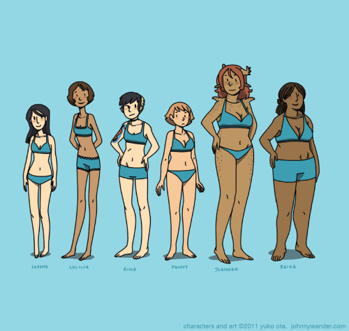 Character Body Type Lineup: Girls (boys will be tomorrow!) These sorts of things are important.  Artists: this is a good exercise!  It's good for you. Nina Matsumoto posted a bunch of athletic body diversity photos on her blog a bit back, the link has been going around.  It's seriously worth checking out if you haven't already.