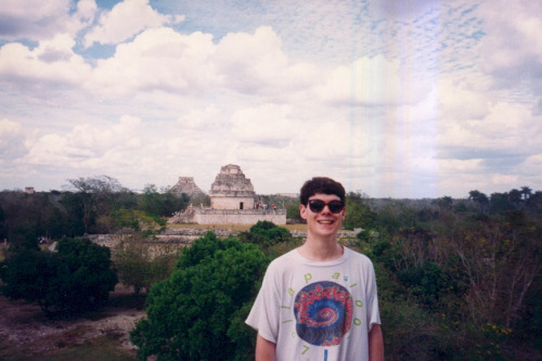 From my album: top of one of the pyramids at Chichen Itza. The sky was veeeeery interesting that day. I was 20 at the time, March of 1993.