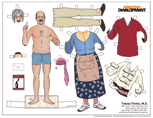 "flannelanimal:  ""It's Tobias!"" I decided to make some paper dolls of the Arrested Development cast, and started with Tobias.  I ran out of room for a lot of his stuff, such as the ""Leather Daddy"" outfit, and of course, a blue-man version.  I'll do those in a separate set soon.   These are completely printable, just click the photo for the high-res version, print it to fit landscape 8.5 x 11"" on a piece of cardstock.  However, depending on printing quality and because of the size of some pieces, a finished cut-out will definitely be of lower quality than the original image.  But who cares!Come back each week for a new Arrested Development character!"