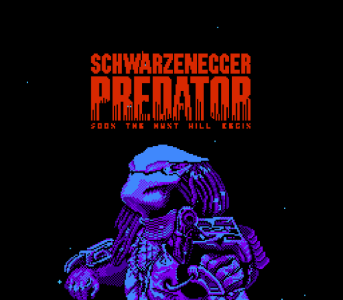 Submitted by vgjunk:  Screenshot from the intro to Activision's 1987 Predator game on the NES.  Nice find! Thanks for the submission!