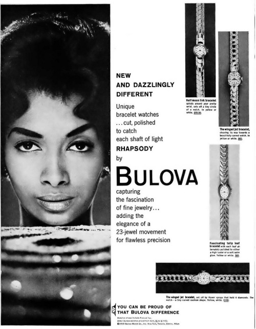 Pioneering Black model Helen Williams in a Bulova watch ad from 1959.