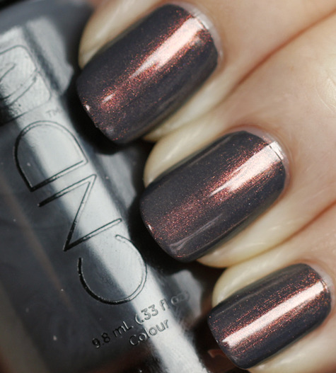 "CND ""Asphalt"" with CND ""Copper Shimmer"" over it. I really need to get Copper Shimmer so I can try this. Via All Lacquered Up."