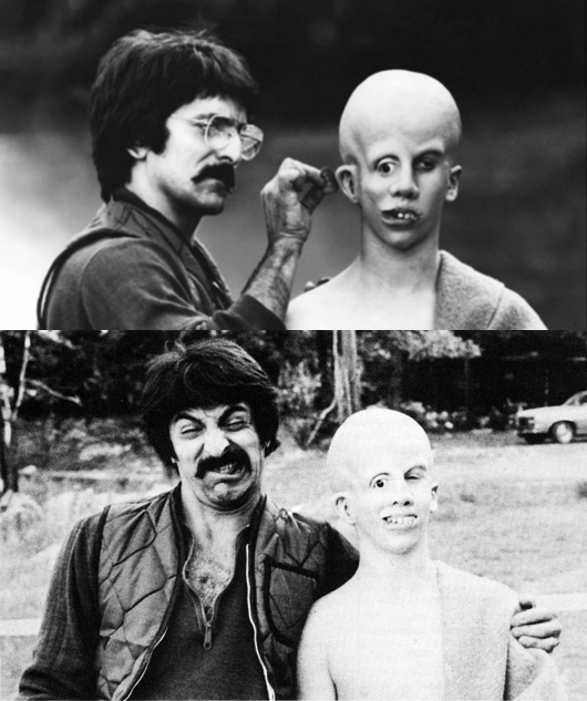 horrormoviefreak:  Tom Savini on the set of Friday the 13th.