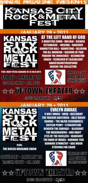 I will be hosting two Kansas City Air Guitar competitions Jan. 28 and 29 at the Uptown Theater at the Kansas City Rock & Metal Fest! The winner of each night will be automatically entered into the official US Air Guitar KC Regional, which takes place in June 2011!!! Click on the photo above for more details and I'll see my brothAIRs and sistAIRs there!