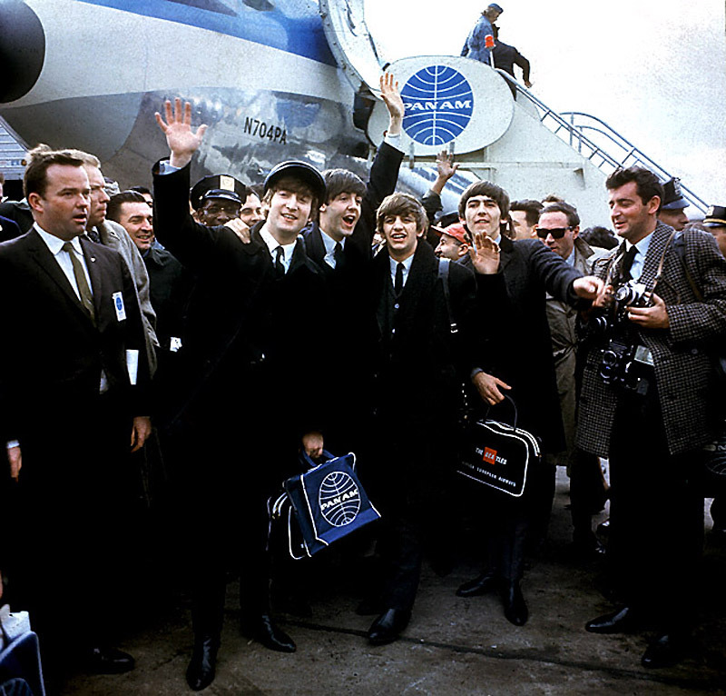 hobbesismyhero:  At New York's Kennedy Airport Feb. 7, 1964 for their first U.S. appearance