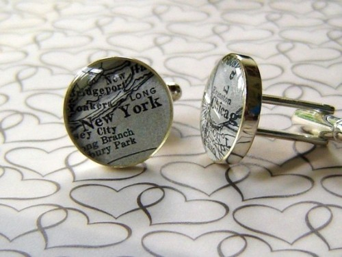 Andrew emailed us about this Etsy seller. She'll make you cuff links using maps of any two towns in the world. I'm not nuts about toggle-backed cuff links (I prefer double-sided), and I'm ambivalent about non-precious metal jewelry, but the product looks really lovely. They're made to order, so I'm guessing if you had a finer jewel in mind, the seller might accommodate.