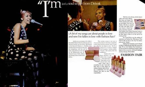 Aretha Franklin in a Fashion Fair Cosmetics ad from the 1970s.