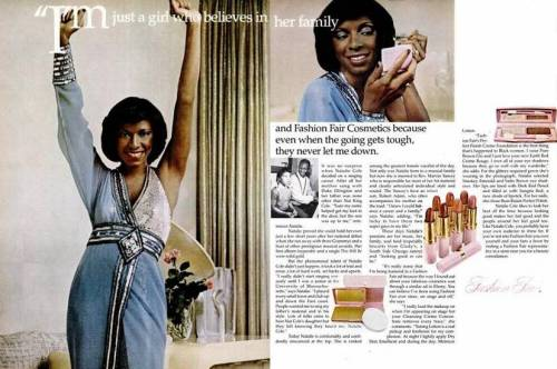 Natalie Cole in a 1970s Fashion Fair cosmetics ad.