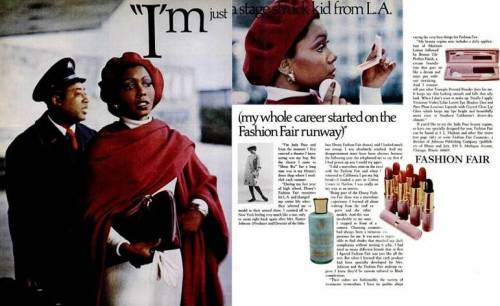 Judy Pace in a Fashion Fair cosmetic ad from the 1970s.