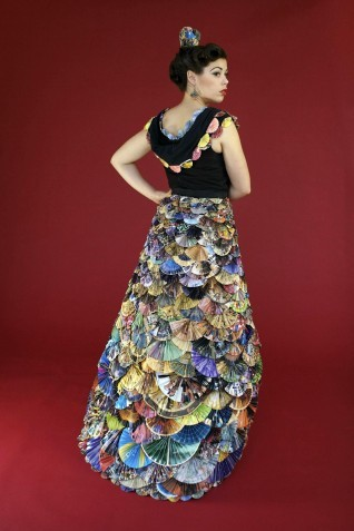 recycled junk mail fan dress by Nancy Judd I want this … and somewhere dry to wear it.