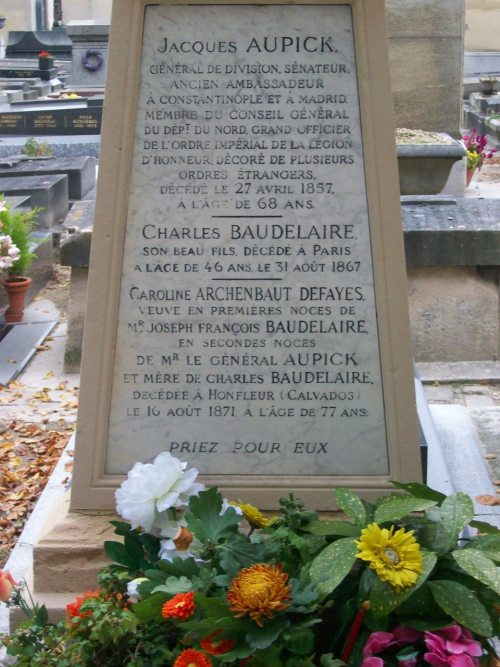 Since I re-blogged a photo of Rimbaud's  grave, I thought I'd post a photo of Baudelaire's grave which I took in Paris last fall. -Cimetière du Montparnasse, Paris, October 2009